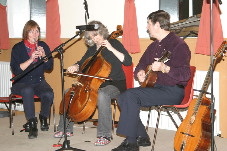 Kate, Marjorie and Bob - on penny whistle, cello and mandolin